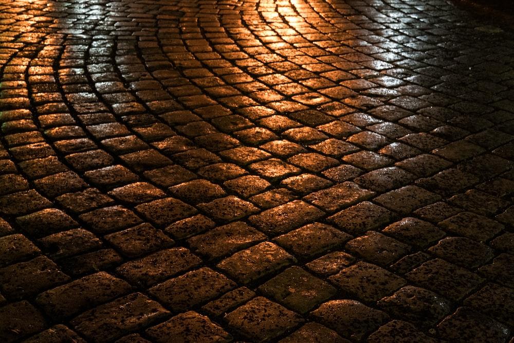 close-up photo of wet stone floor