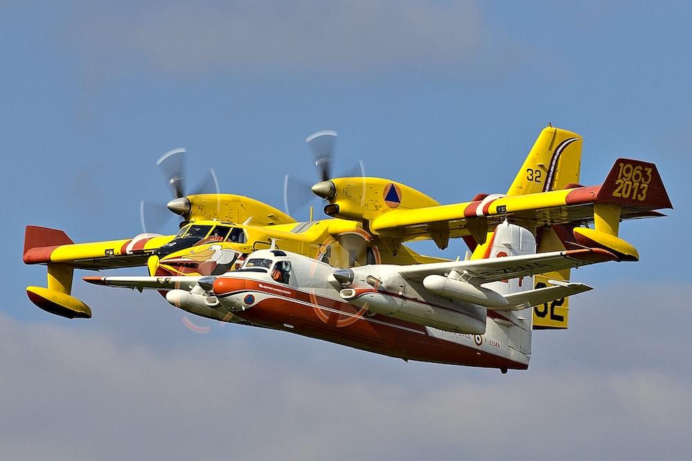 yellow and white plane
