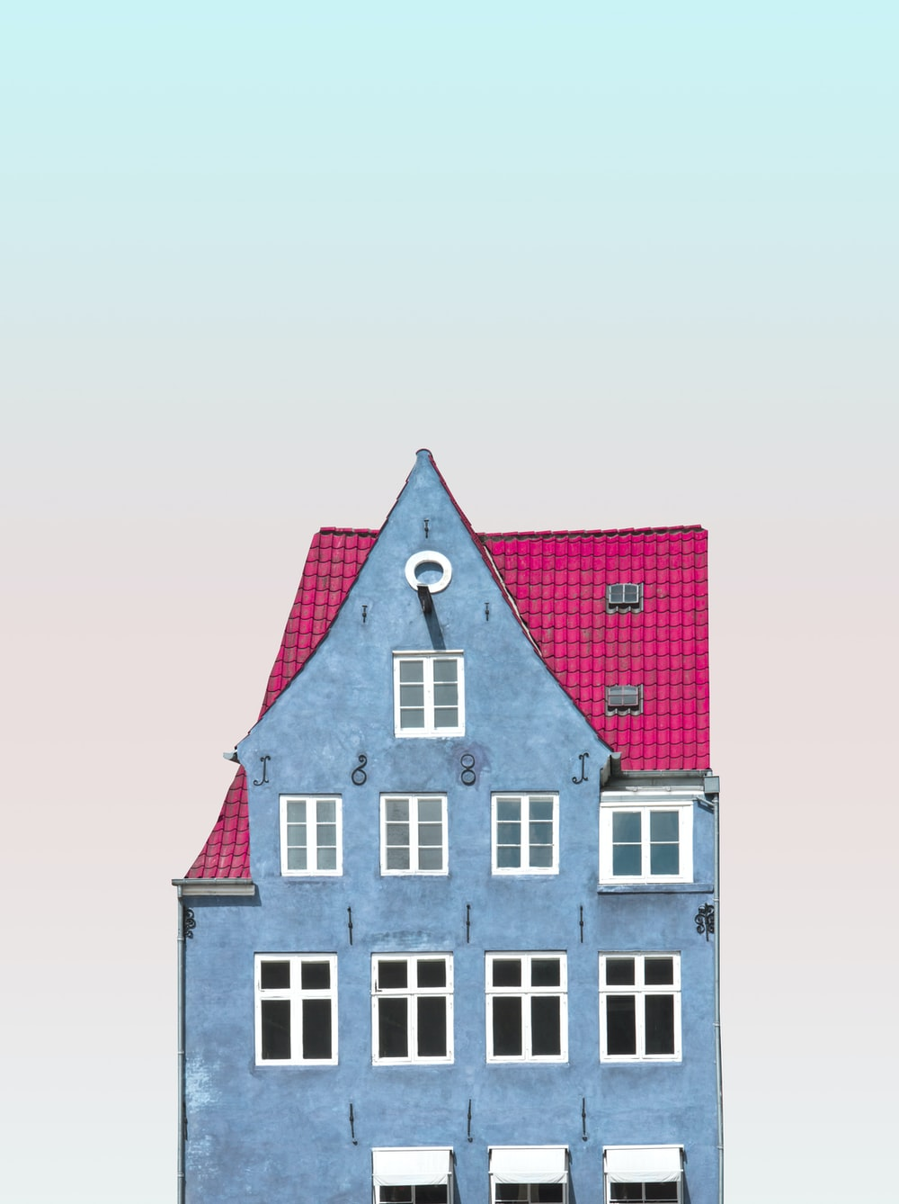 blue and pink 4-storey house illustration
