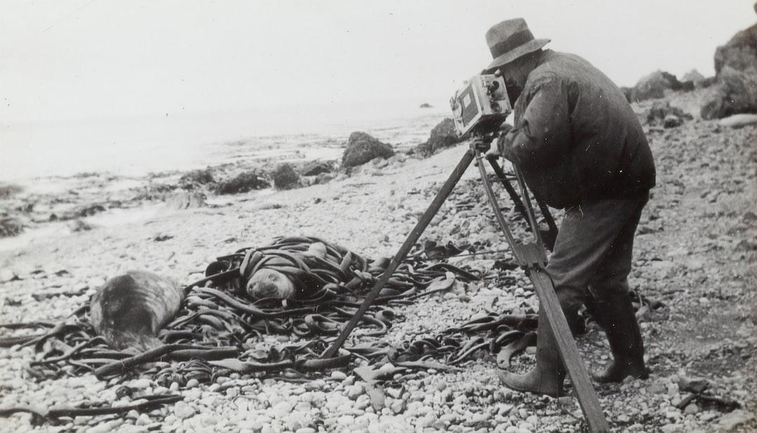 'Captain Frank Hurley Taking Some Cine', Macquarie Island, BANZARE Voyage 2, Antarctica, 1930-1931