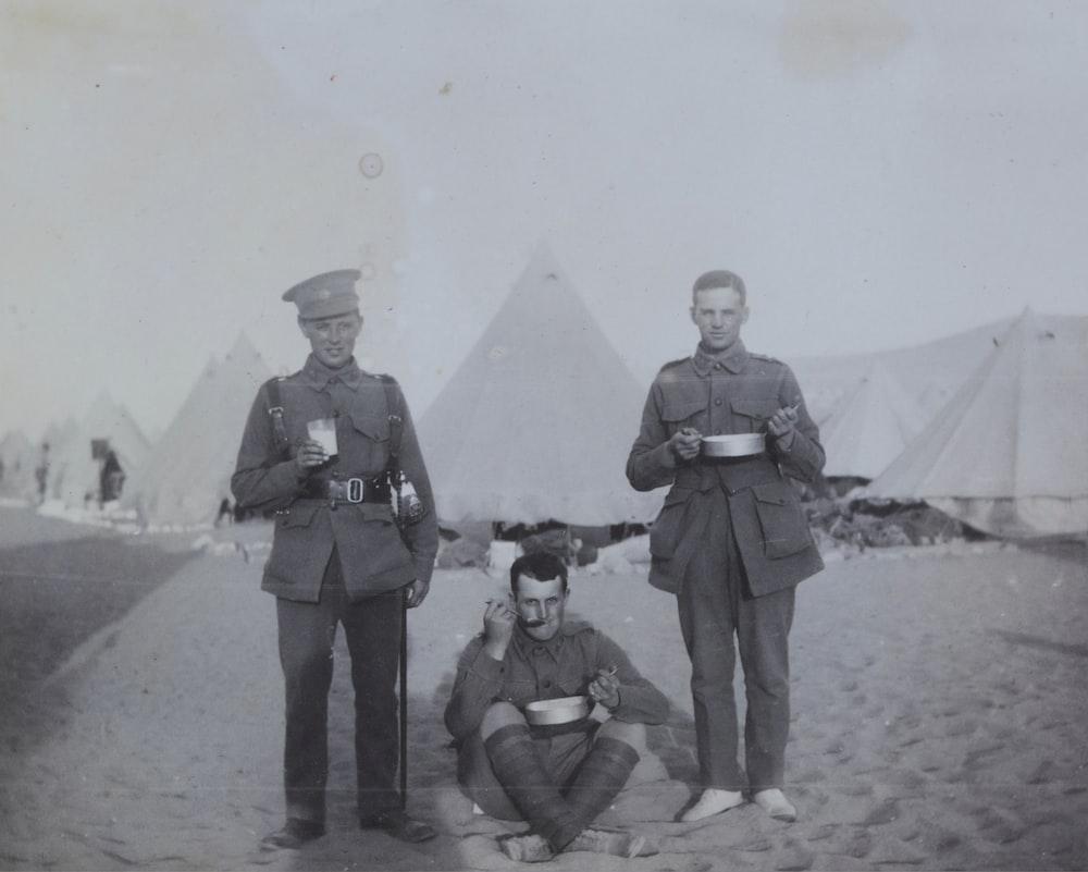 grayscale photo of 3 men