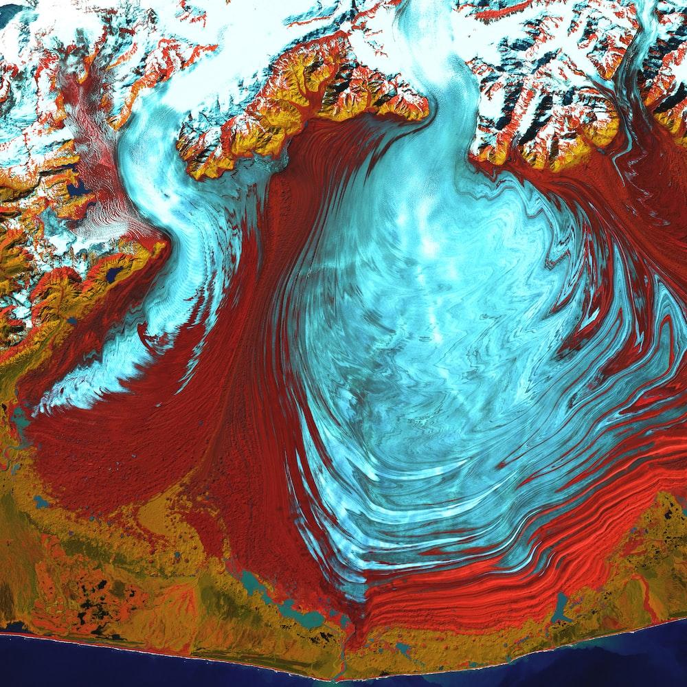 aerial photography of glacier in Alaska