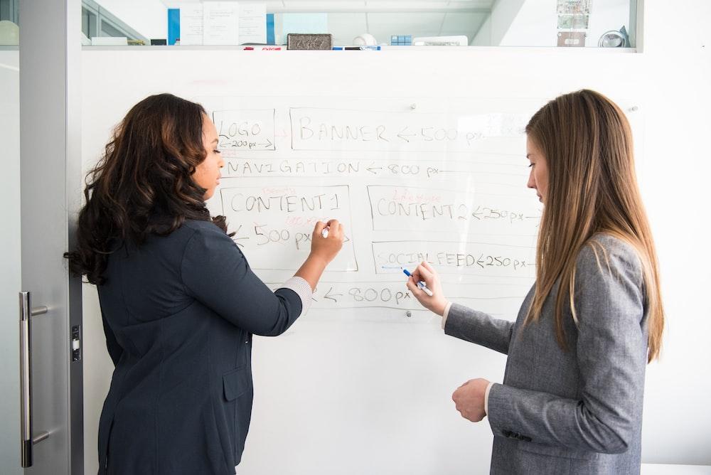 two women writing on whiteboard