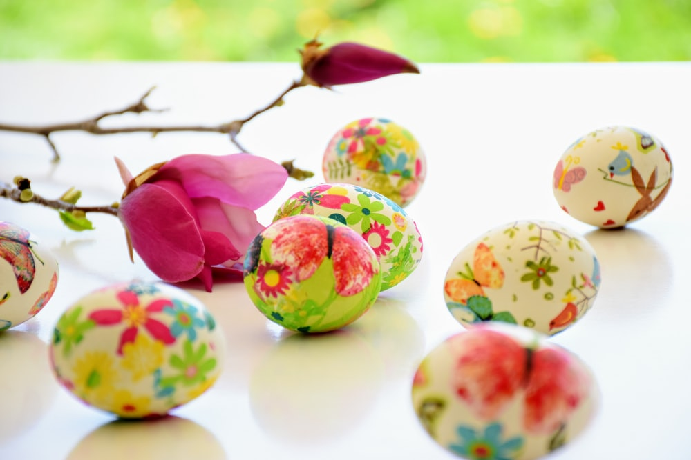 decorative floral eggs and pink rose