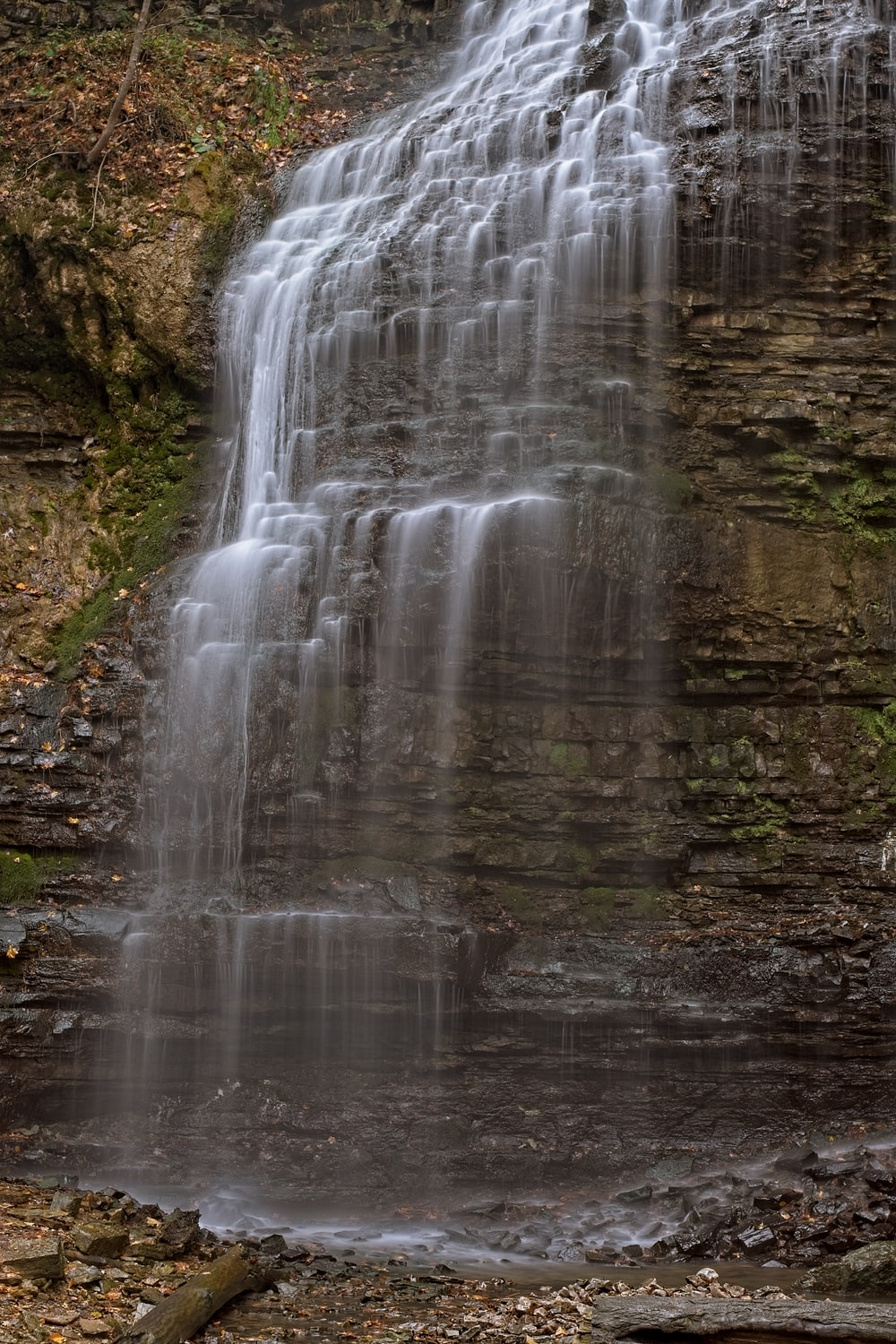 time-lapse photograph of waterfalls
