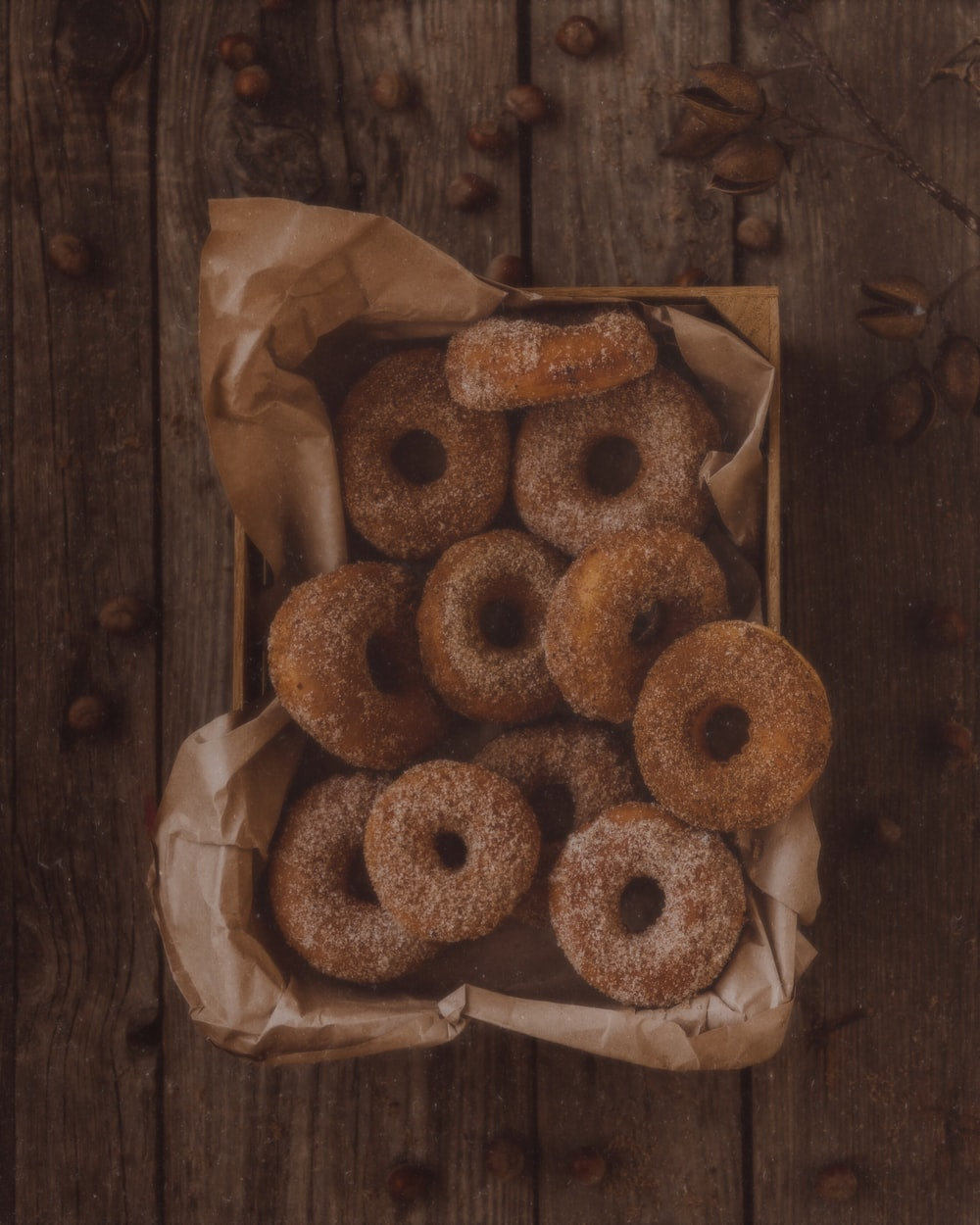 glazed donuts on brown tray