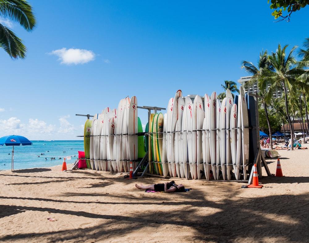 white surfing boards