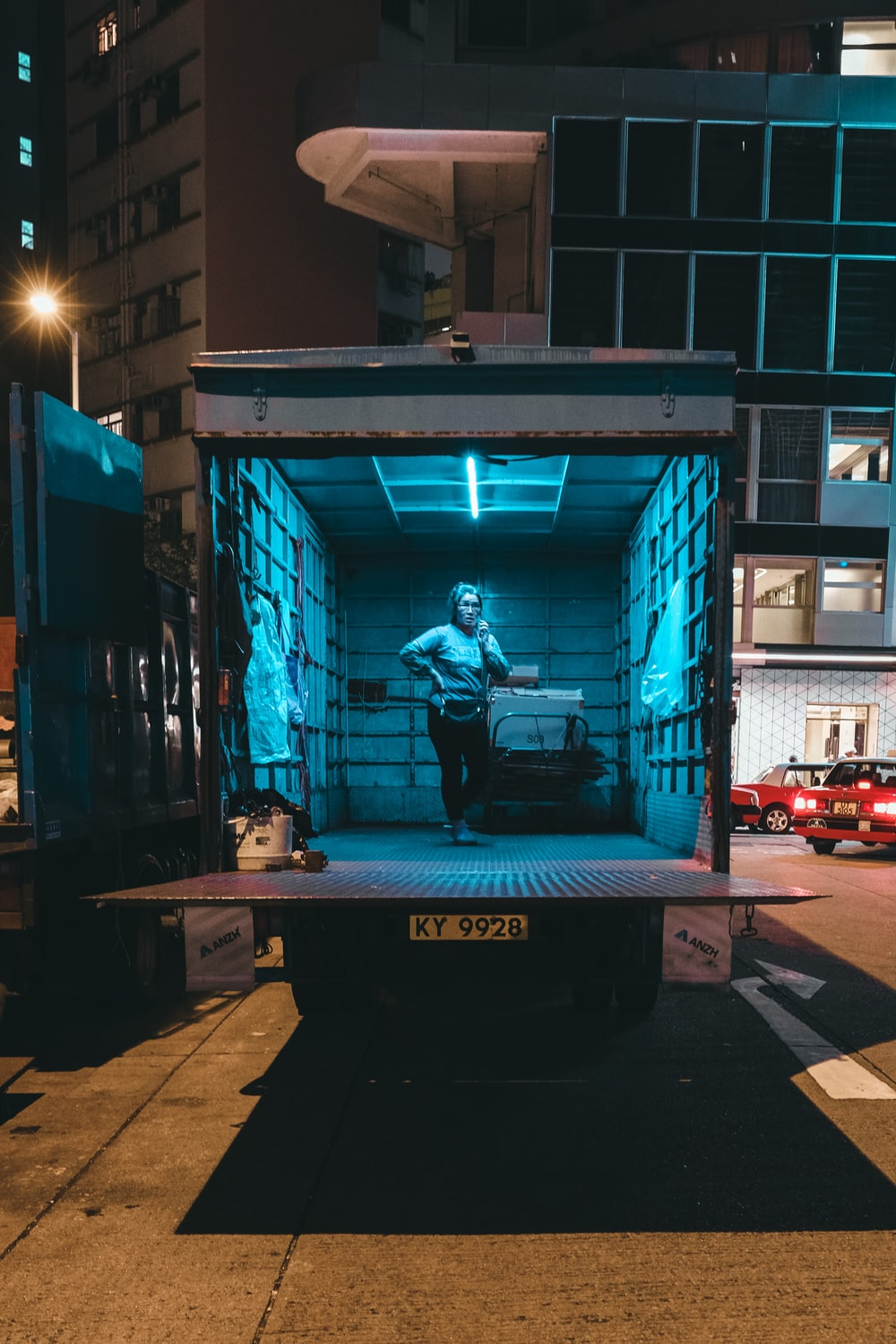 person riding truck during nighttime