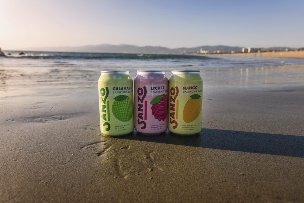 Sanzo cans at beach