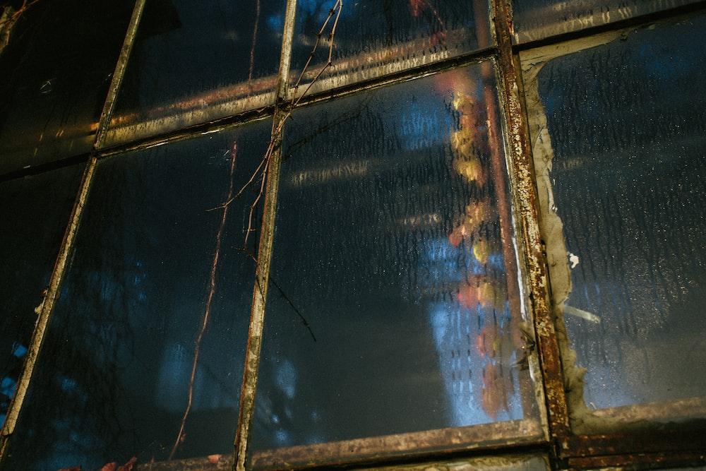 gray framed clear glass window