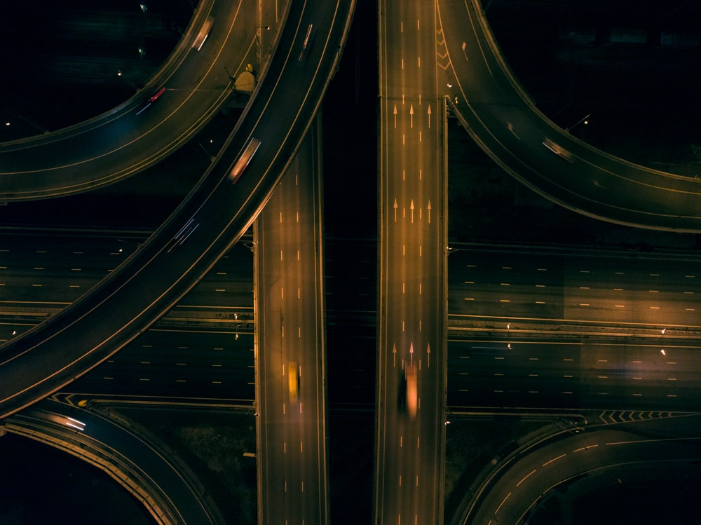 aerial photo of road at night