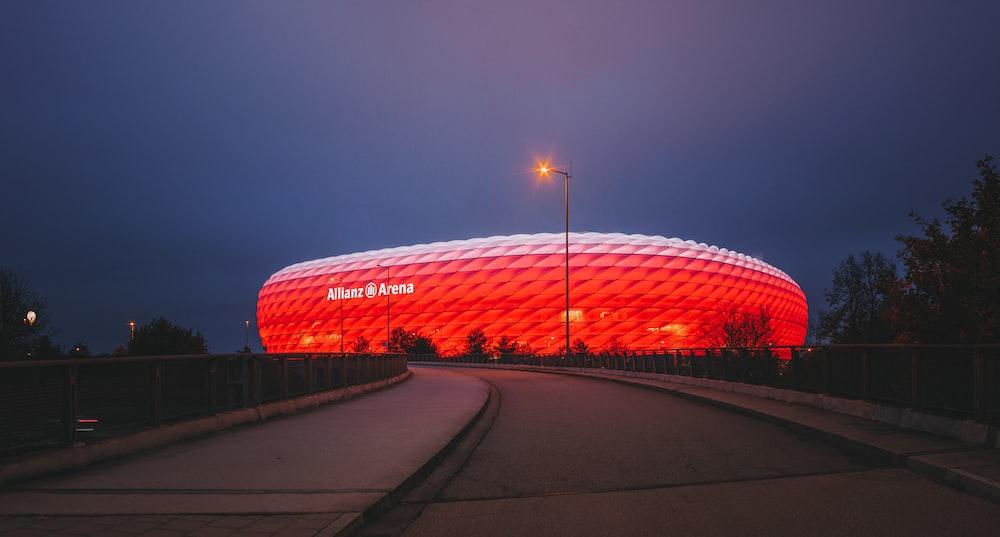 panoramic photography of red stadium