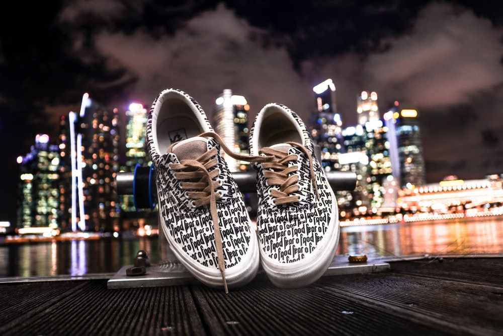black-and-white running shoes