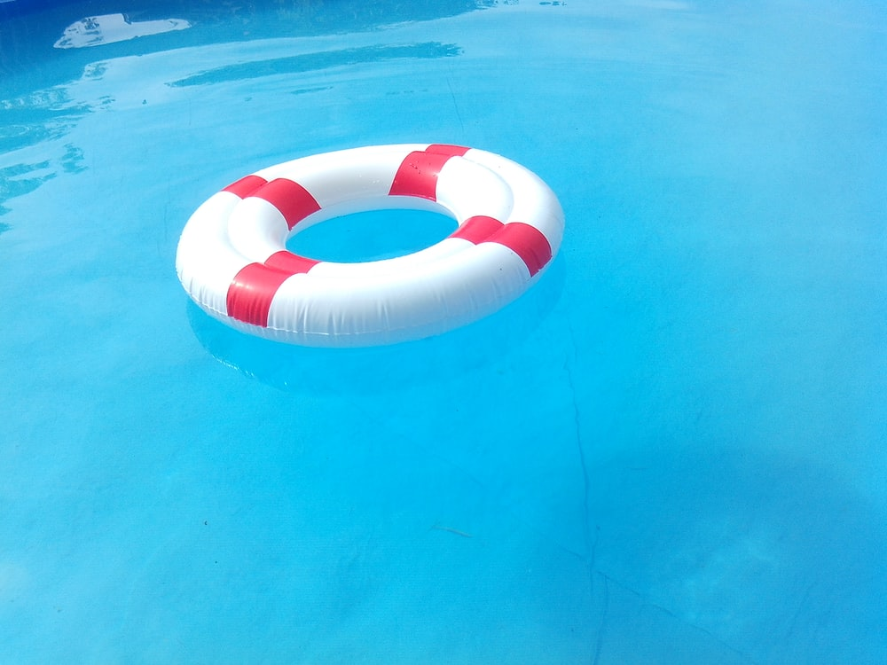 red and white floater