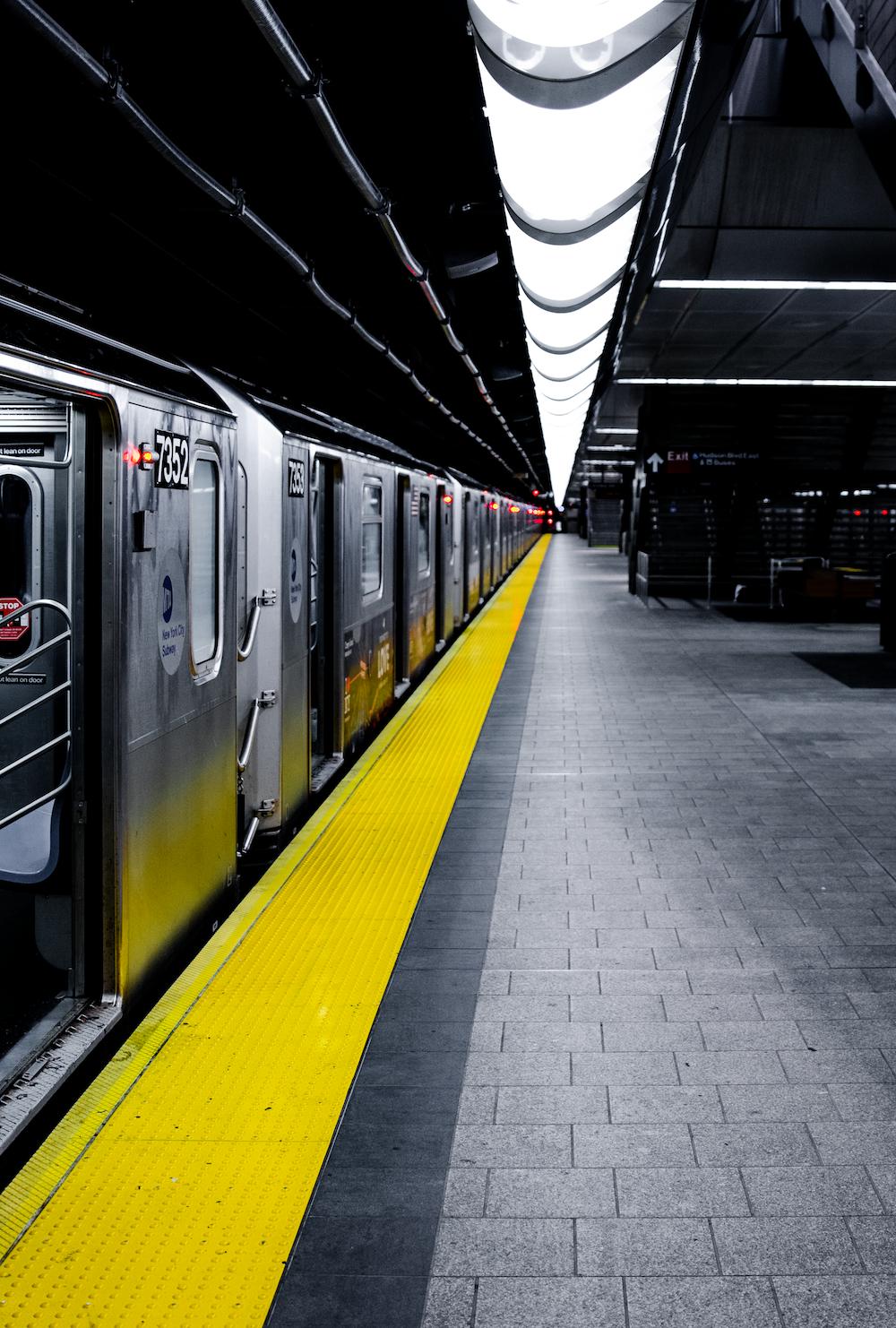 grey train in subway