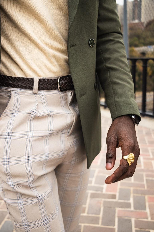 man wearing green blazer
