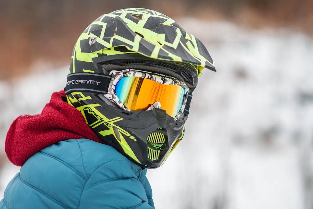 person wearing motorcycle helmet