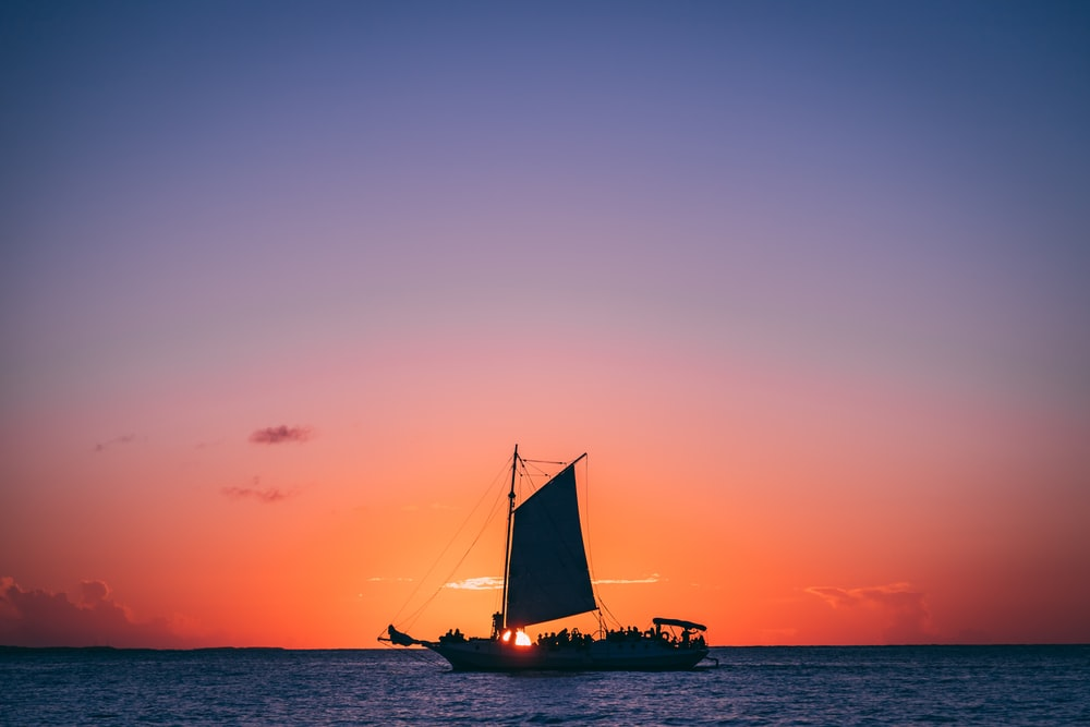 boat at the ocean during day