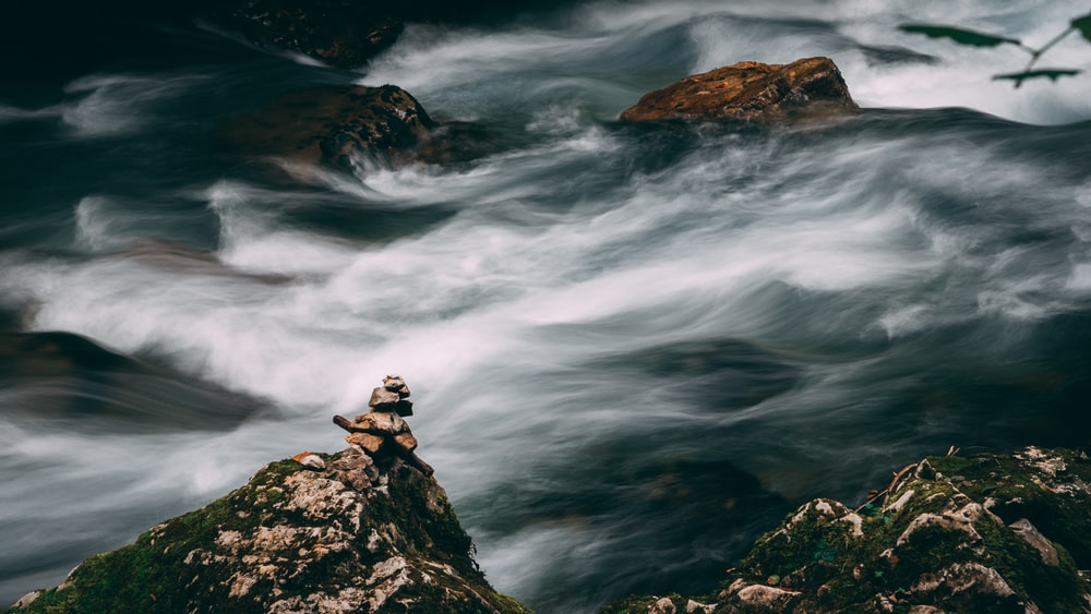 flowing water on rock