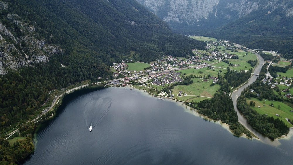 top view of boat in lake