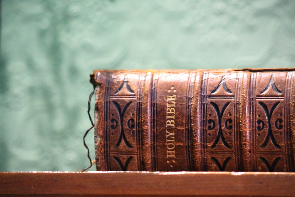 selective focus photography of closed Holy Bible