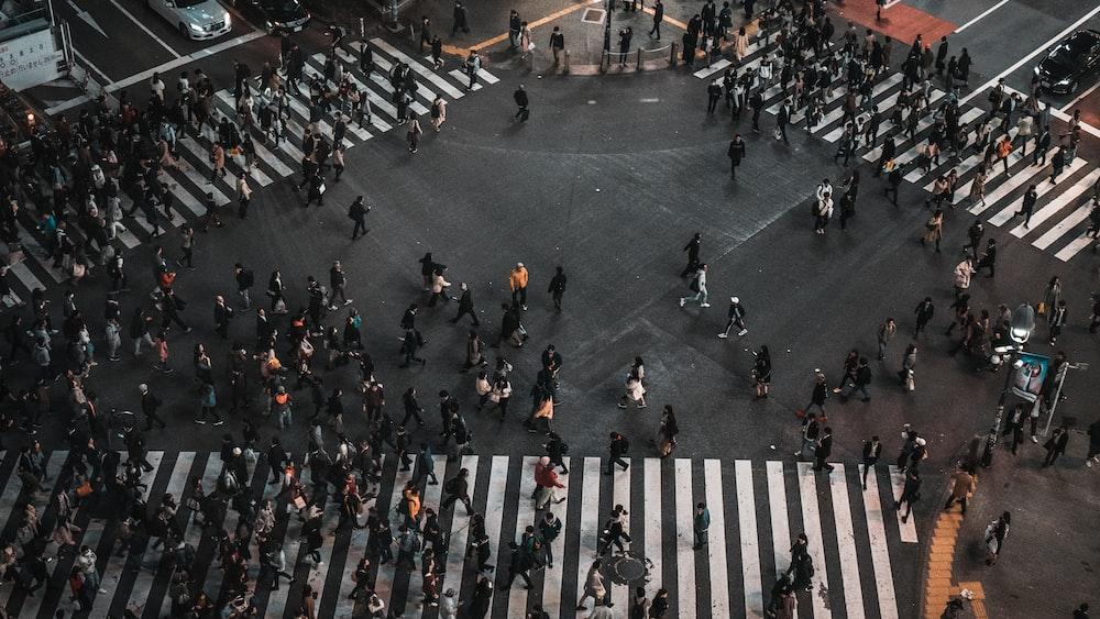 crowd walking on pedestrian lane during daytime