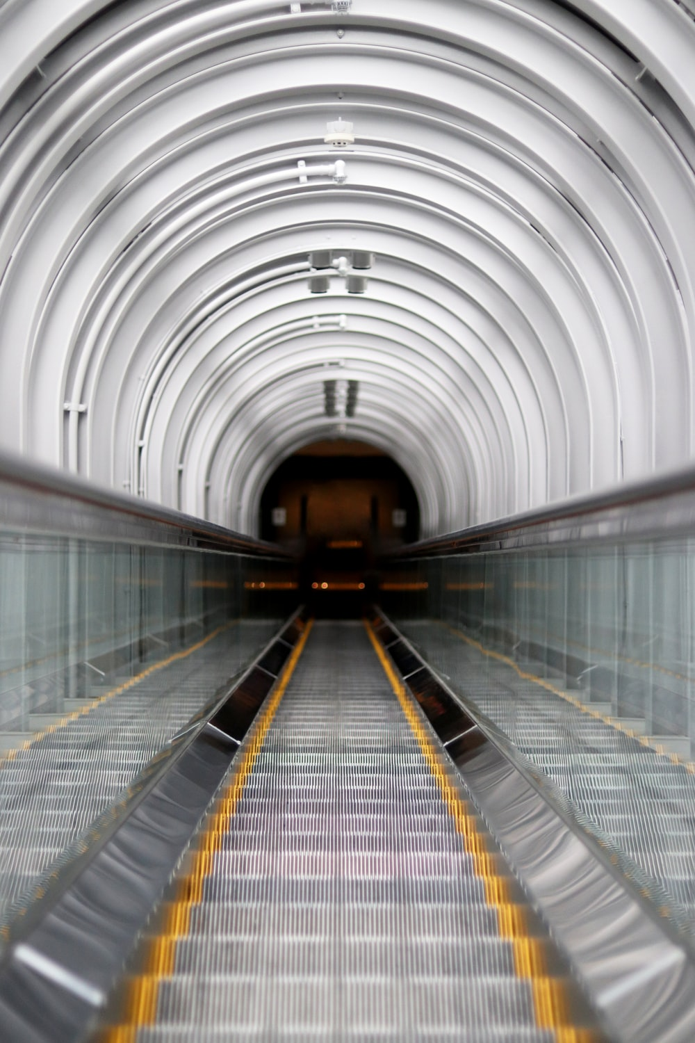 stainless steel escalator with no people