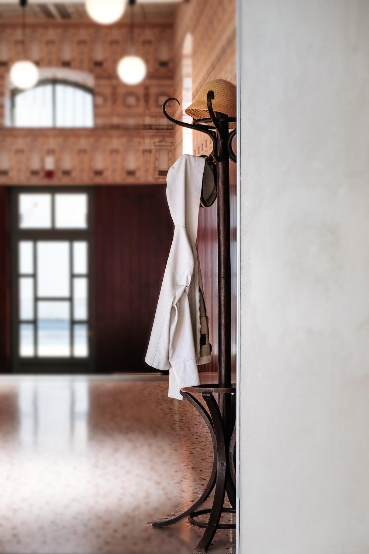 white textile on rack
