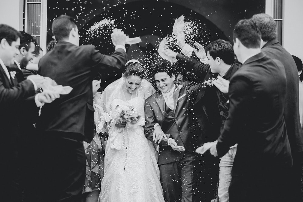 greyscale photography of newly wed