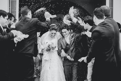 greyscale photography of newly wed wedding teams background