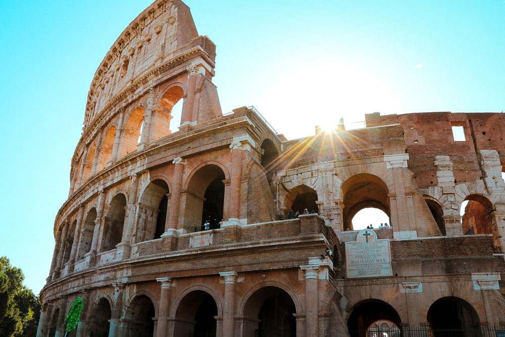 The Colosseum under blue sky