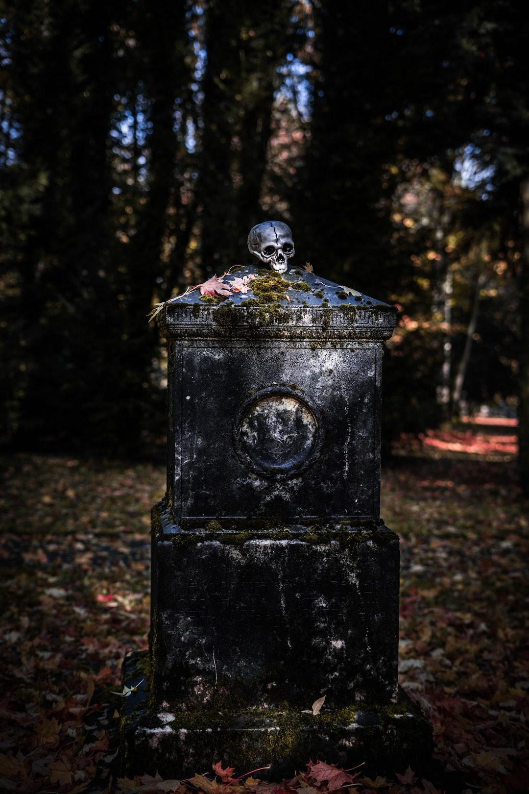 gravestone with skull