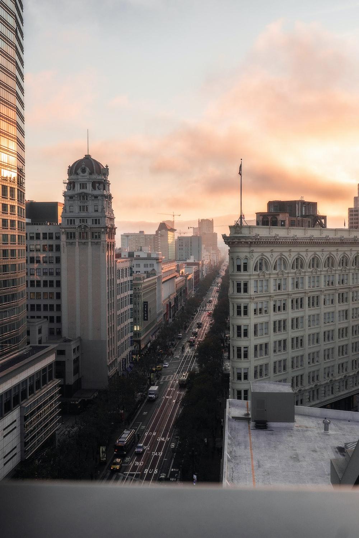 top view of street between high-rise buildings