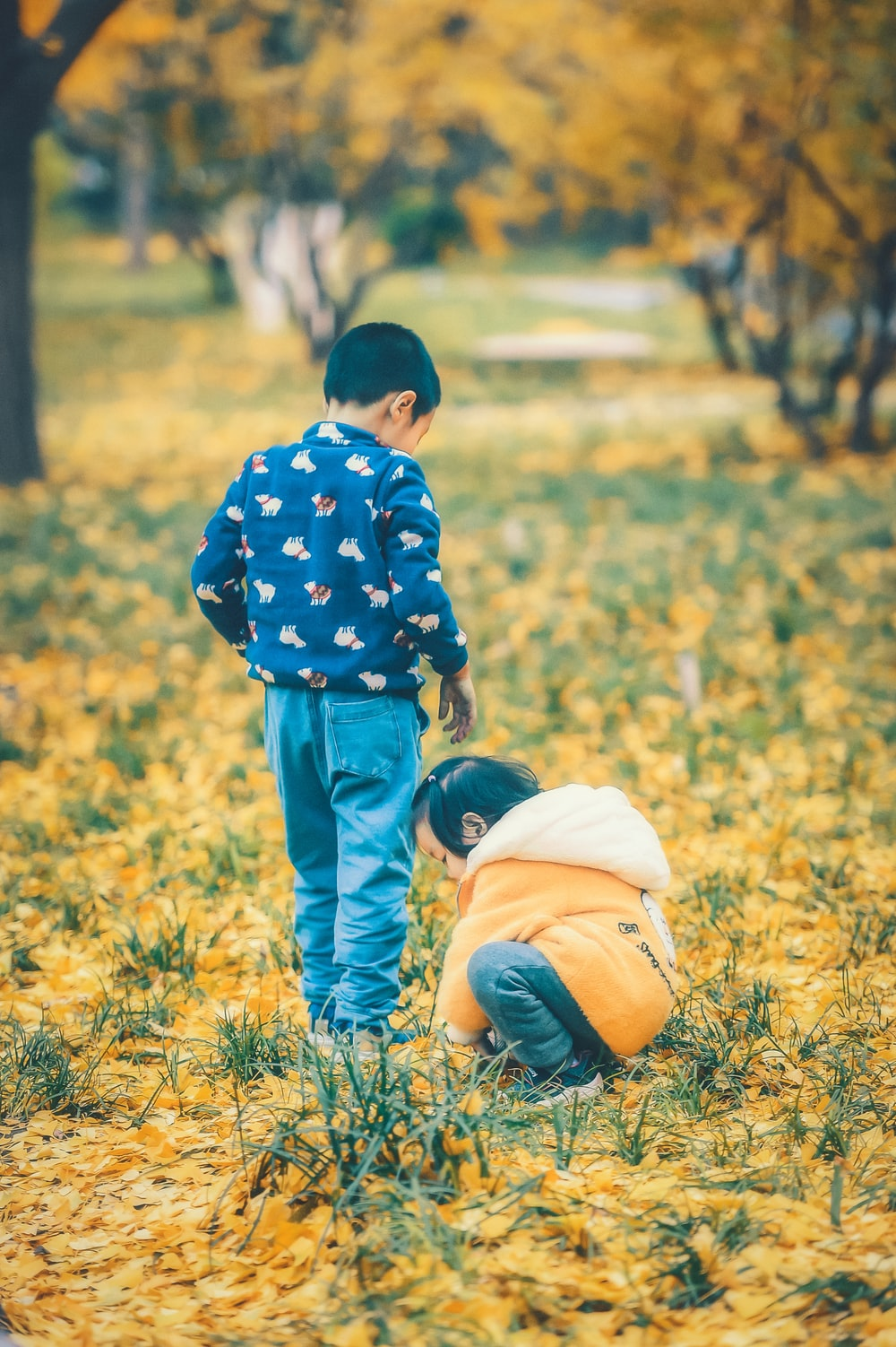 child wearing orange and white jacket picking grass and another child standing while looking down