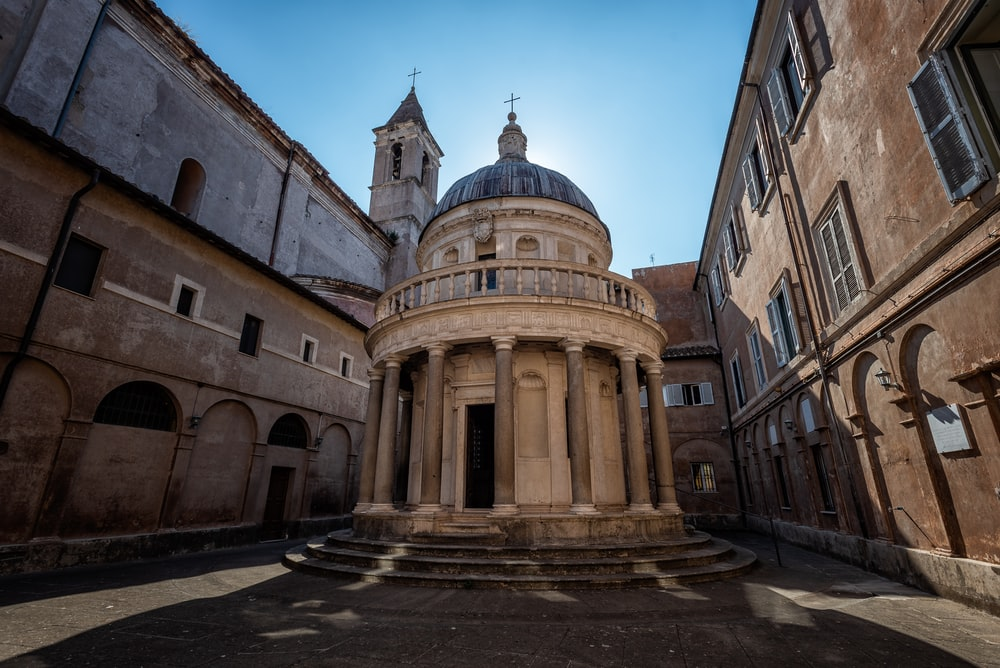 San Pietro in Montorio in Rome Italy under blue and white sky