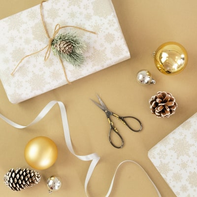 flat lay photography of baubles and scissors