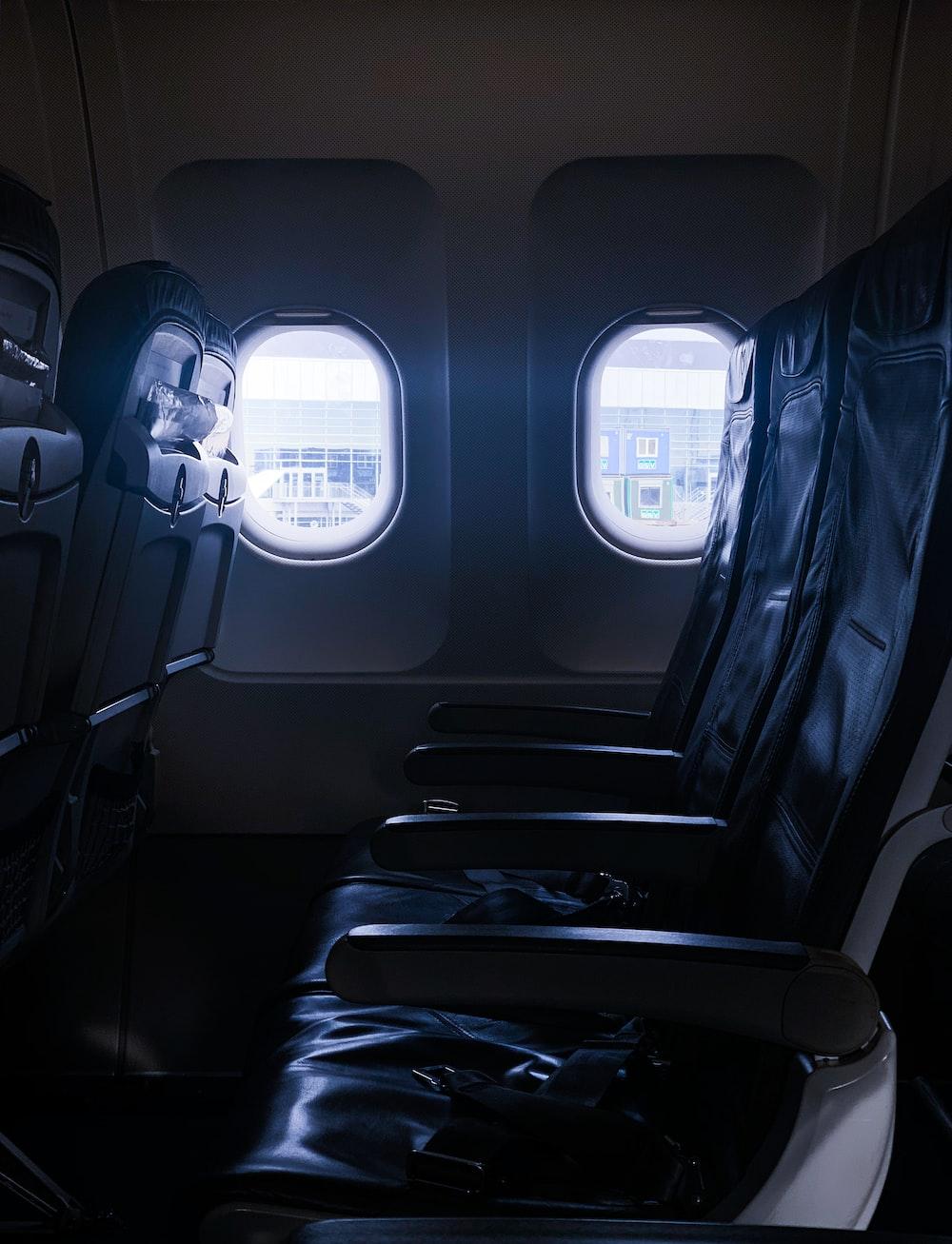 black airliner seats