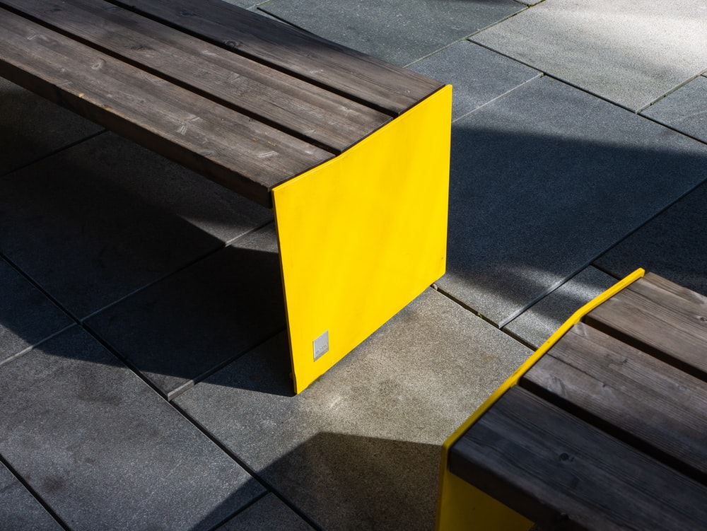 brown and yellow bench