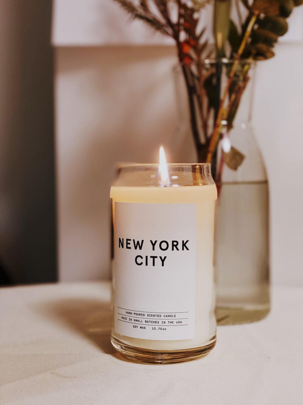 white New York City votive candle