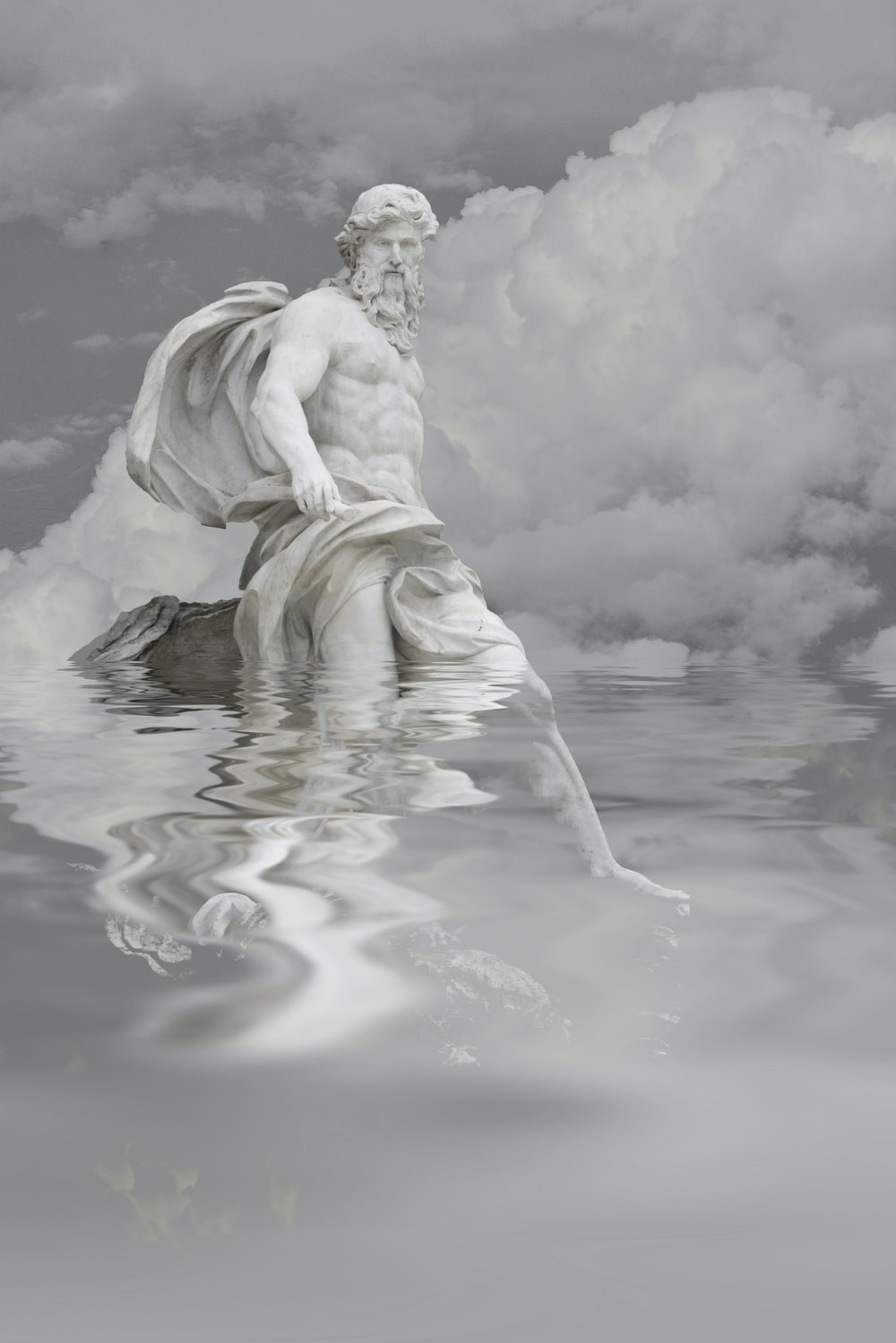 grayscale photography of ancient man on water art