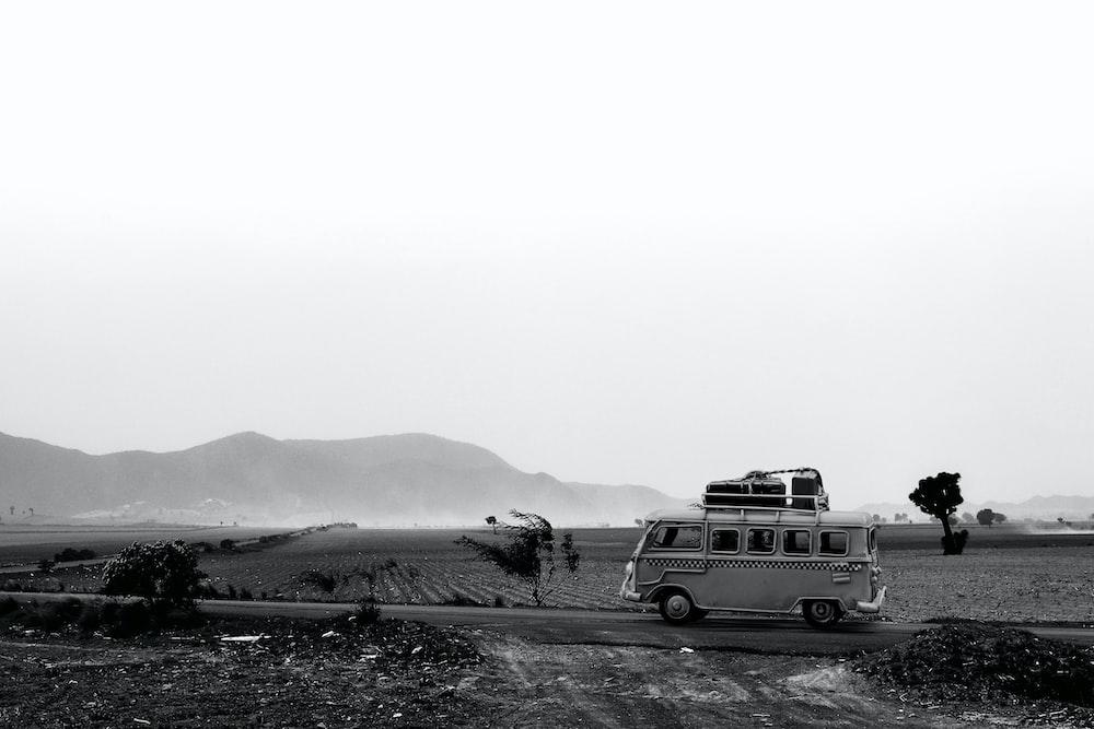 grayscale photo of van
