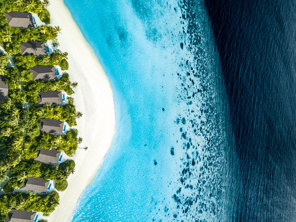 aerial photography of blue beach