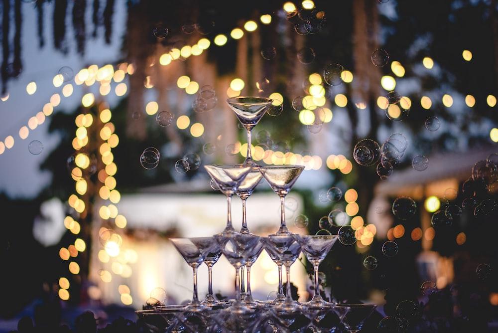 bokeh photography of wine glass