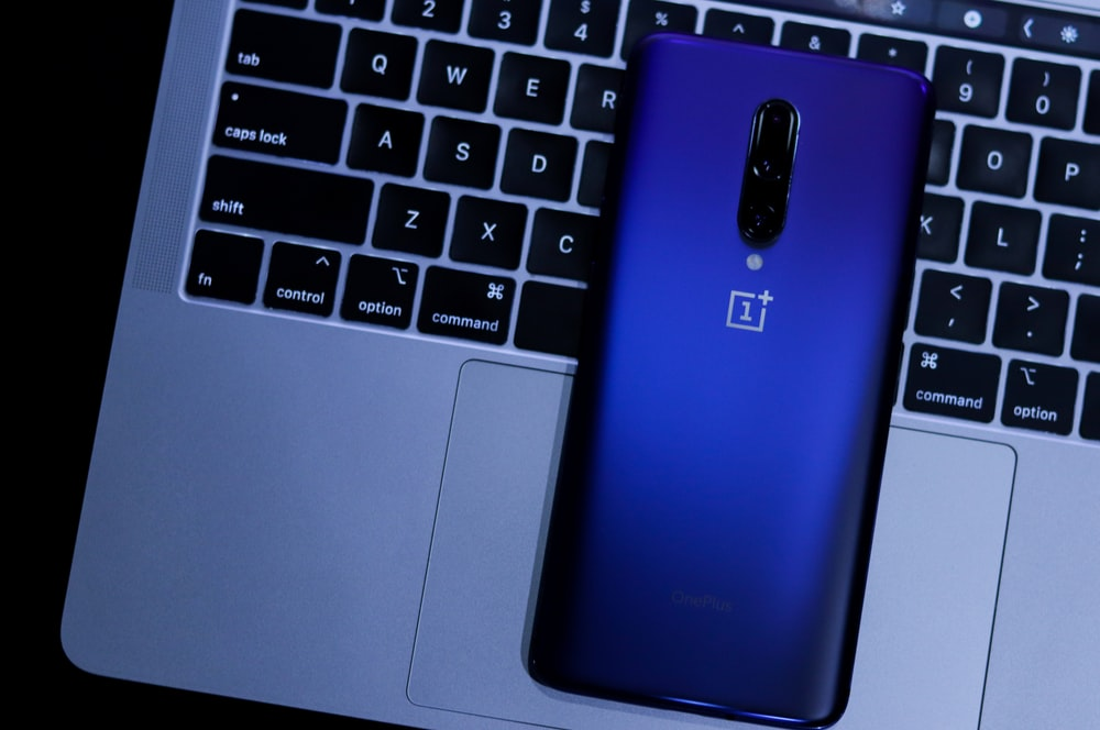 blue OnePlus Android smartphone