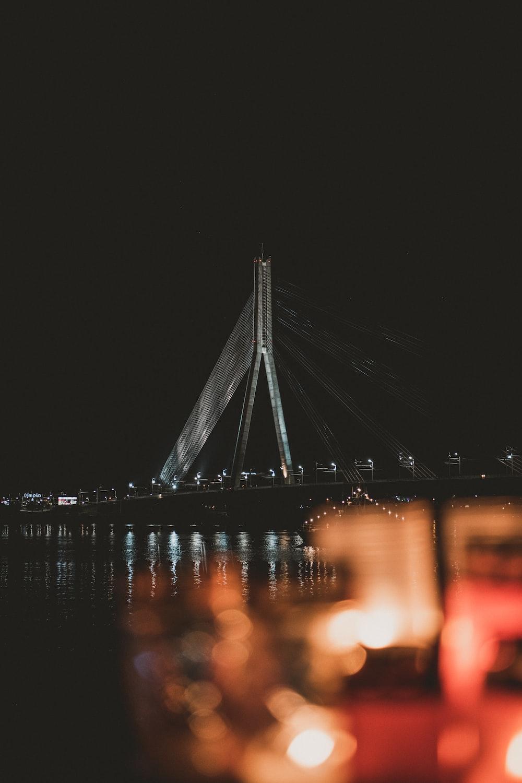 suspension bridge during night time