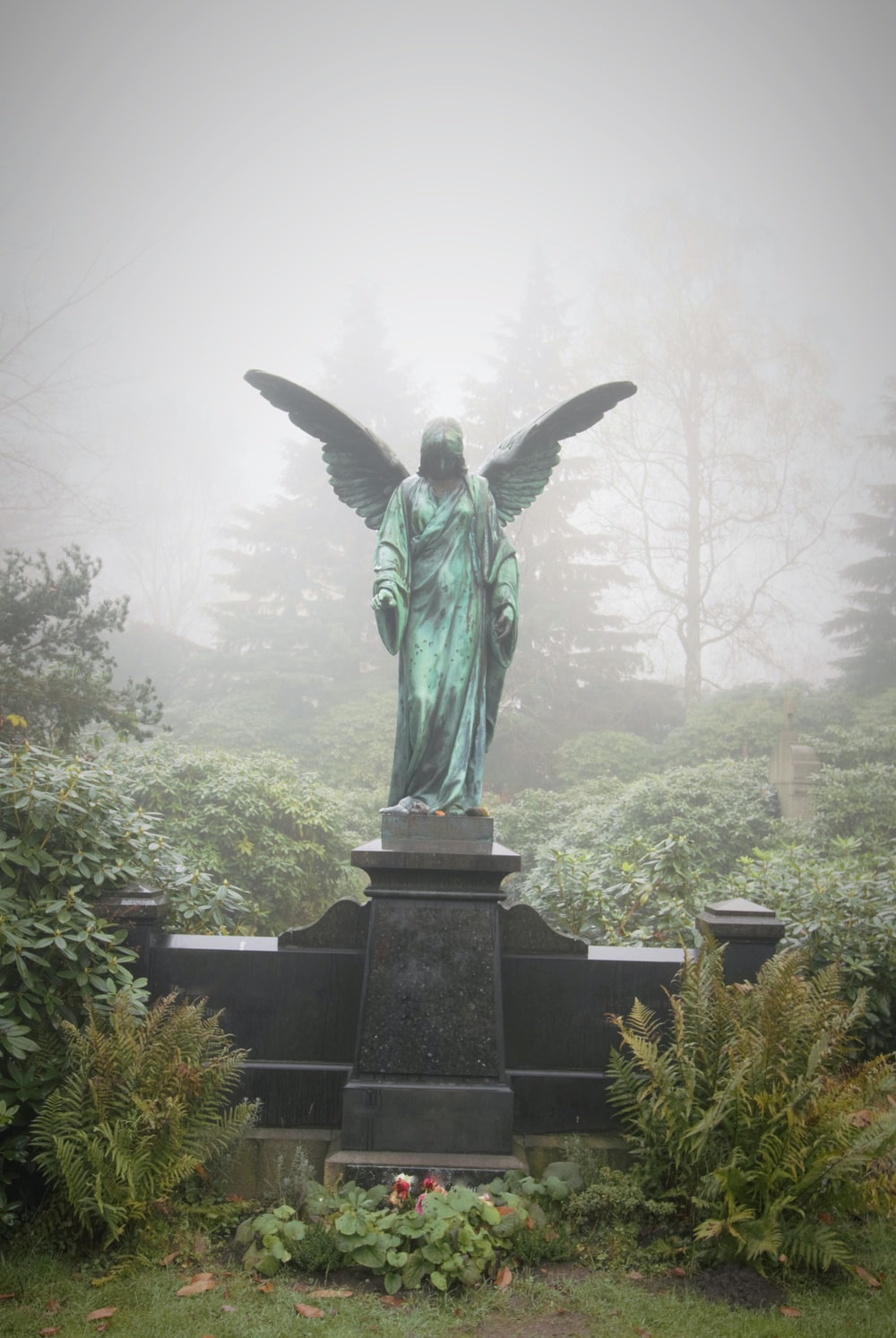angel statue surrounded with trees