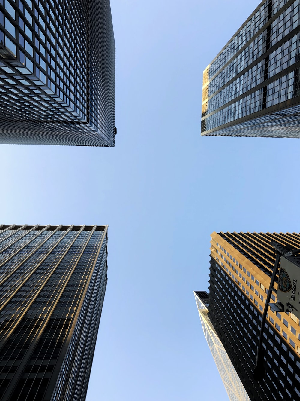 worms-eye-view photography of city buildings