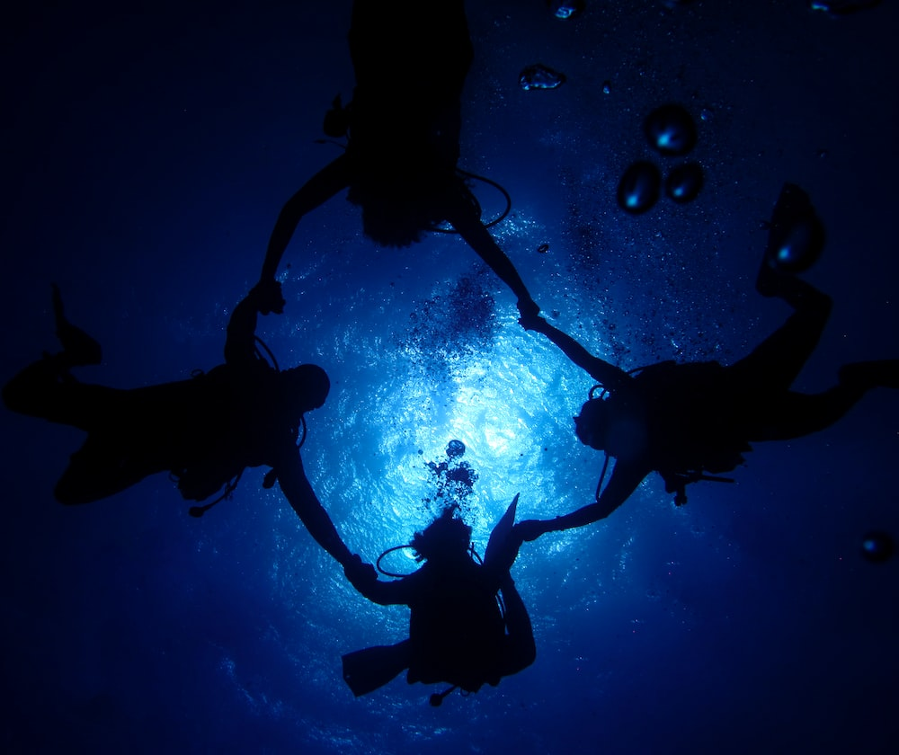 underwater photography of four scuba divers forming circle