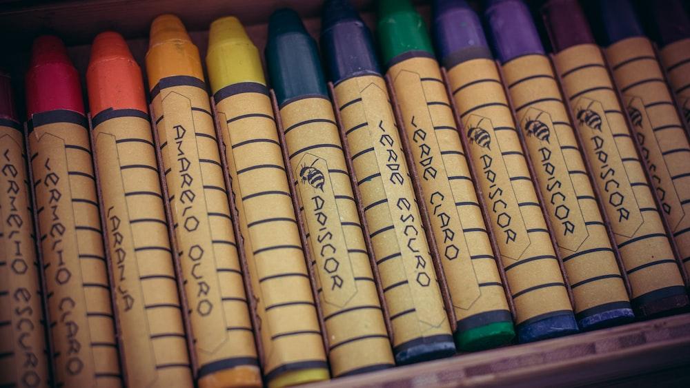 assorted-color crayon set