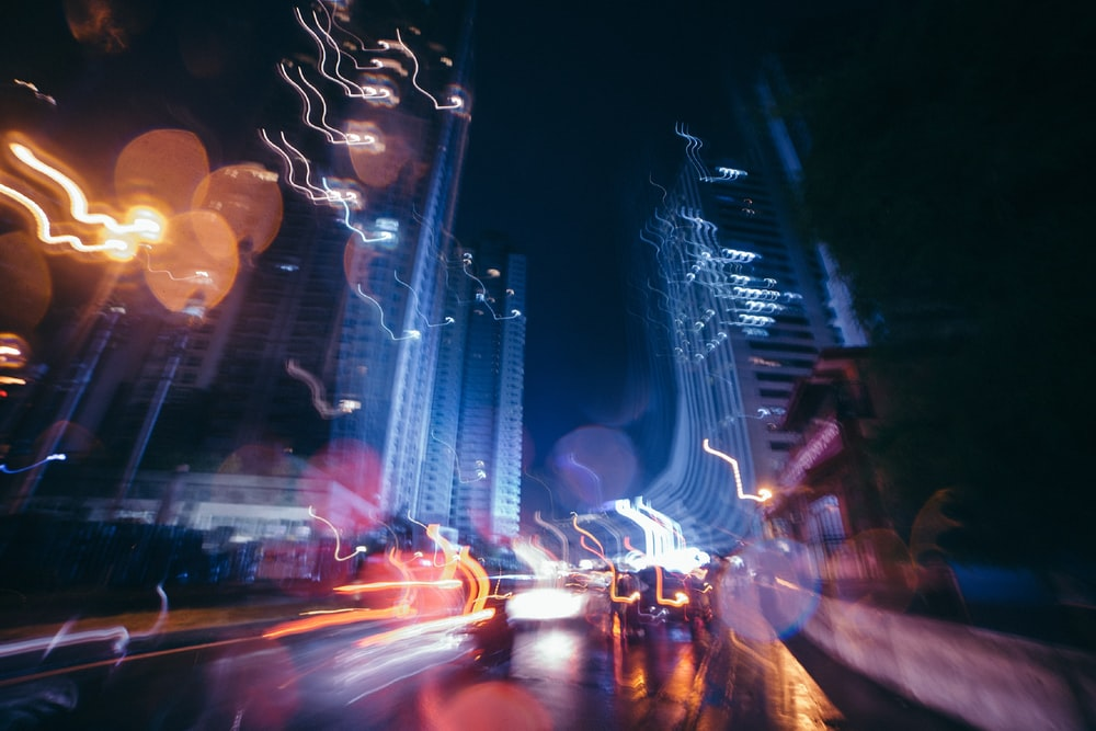 time-lapse photography of street during night time